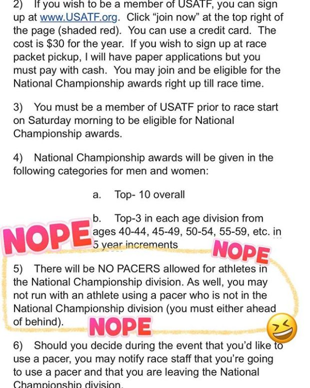 USATF has me like... Nope.  I've never been this excited about not competing (for AG at the USATF 100mi Championships, aka Jackpot Ultra!) #ijustwannafinish