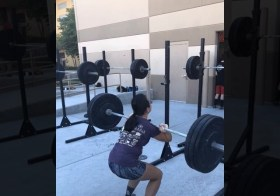 "This is the most I've done during my off-season! 115# FS PR! And then during our WOD — 24"" Box jump. This will help when I begin training for the beast that is Jackpot Ultra 48hr. [instagram]"