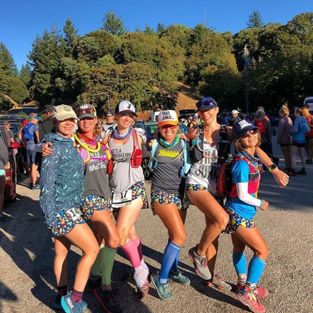 "Our ""Happy Hour"" @boausa shorts were on point at Skyline to the Sea 50km — we would yell, ""follow the cocktails!"" when we zoomed down the lovely CA forest singletrack! #trailjunkies #myboausa"
