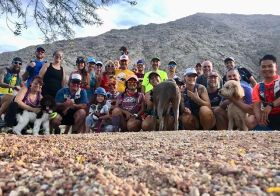 Monday night group at Lone Mountain! Kingston ran with Lily the amazing doxie most of the time & handled the 96°+ desert weather fairly well. Then he took a nap on our 3mi car ride home lol. [instagram]