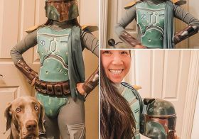 When your friends who just started WFH during this pandemic, they come up with crazy lists for work outfits… Today was Disney Day. 🤓p.s., the outfit was comfy but the forearm thingies kept hitting keys on my keyboard 🤣#thisistheway #bountyhunter #mandalorian #weimaraner #workfromhome #stayhome #stayhomefornevada [instagram]