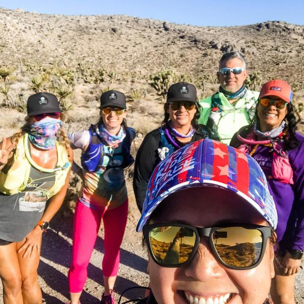 When Yoka mentioned that she and her hubs are doing a run from Late Night to Goodsprings on Sunday and we invite ourselves to their run 🤣 Bucket list item checked! Great fun, some misery, and then more laughs on the trails with these ladies & Sean 😎#trailrunningvegas #baseperformance #teamultra #michelobultra #risingmountainscoaching