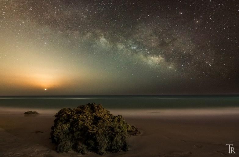 Milchstraße und Mondaufgang auf Fuerteventura