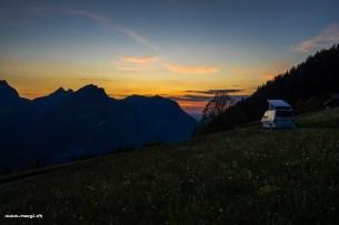 Roter Himmel über den Glarner Alpen