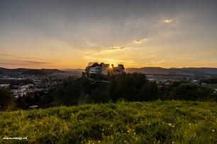 Sonnenstern über dem Schloss Lenzburg