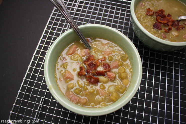 Our new favorite weeknight meal. This split pea soup recipe is so good. great for leftover ham and freezes well too.