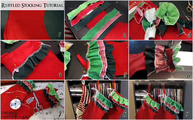 Step by step instructions for an easy ruffled Christmas stocking - Rae Gun Ramblings