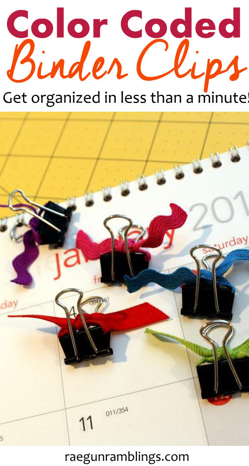 SO smart. These color coded binder clips are so easy and cheap to make. Perfect for getting organized.