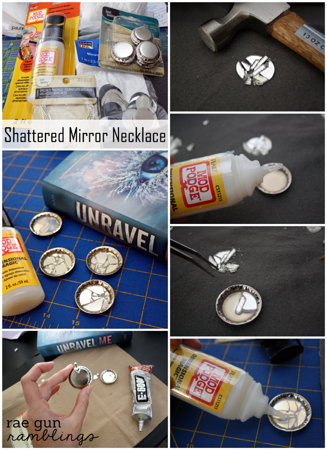 Step by step tutorial on how to make a mirror necklace inspired by Tahereh Mafi's Shatter Me