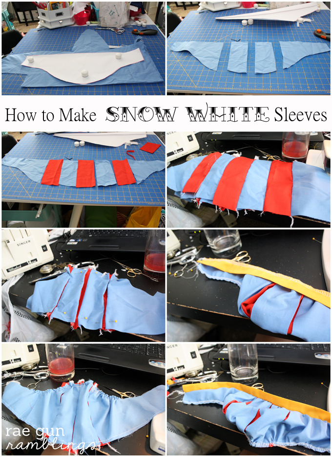 Step by step instructions for how to sew Snow White sleeves in all sizes and how to turn a regular tank top into an awesome Snow White shirt.