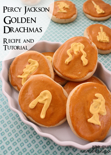 Golden Drachmas Percy Jackson cookies recipe and tutorial - Rae Gun Ramblings