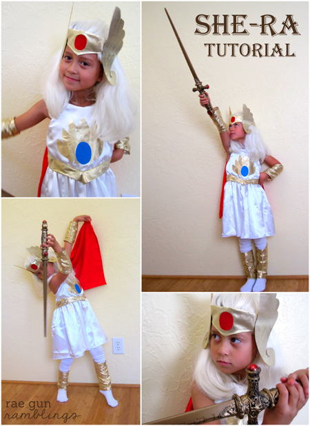 How cute is this She-Ra Costume. Yay princess of power full tutorial #halloween #diy #costume #geek - Rae Gun Ramblings