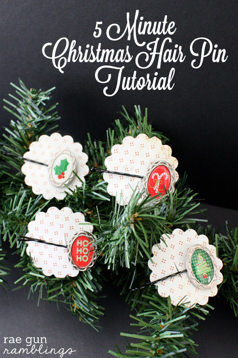 5 Minute Christmas Hair Pins great stocking stuffers or anyone gifts - Rae Gun Ramblings #papercraftedchristmas