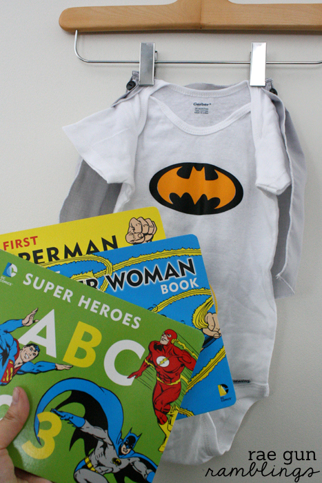Super Hero Cape Shirt and Super Hero Board Books cute baby shower idea - Rae Gun Ramblings