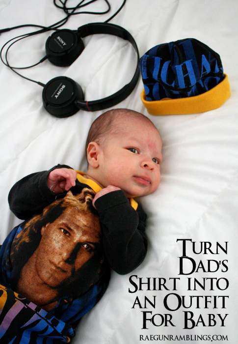Take a grown up shirt and turn it into a fun outfit for baby. How to at Rae Gun Ramblings