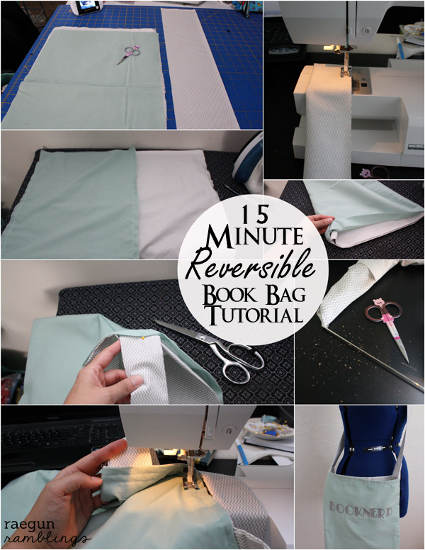 Step by step instructions for a quick and easy reversible shoulder tote bag at Rae Gun Ramblings