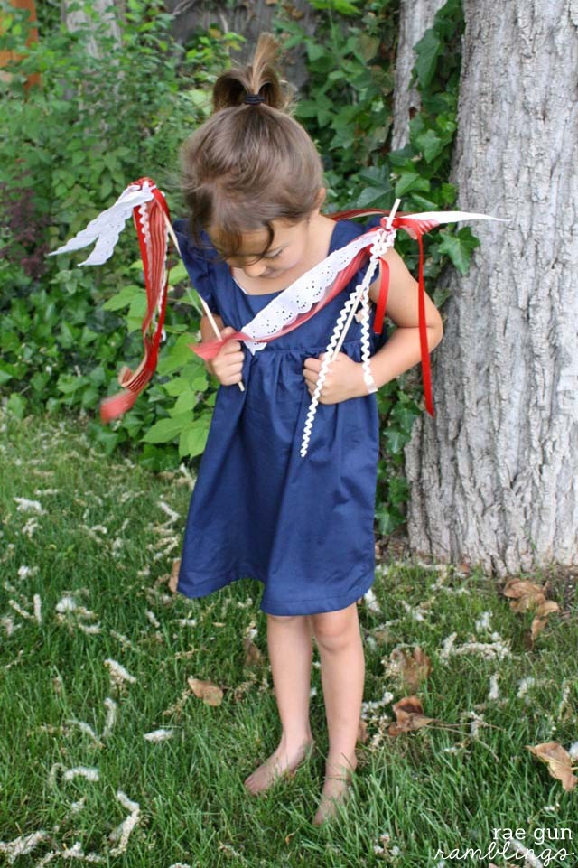 Easy tutorial for ribbon wands and Bohemian Baby Doll dress at Rae Gun Ramblings
