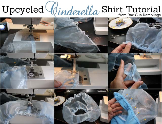 Step by step instructions on how to make a Cinderella top from a basic tank top from Rae Gun Ramblings
