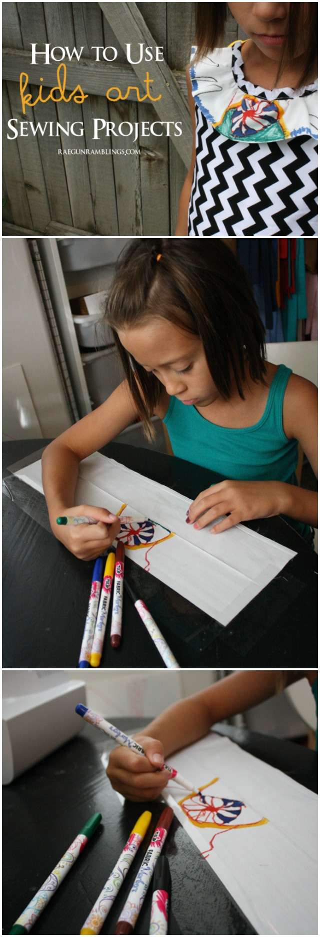 How to turn kids art into fabric designs for their own clothes or unique gifts - Rae Gun Ramblings