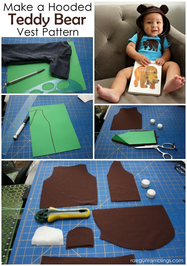 How to make a Bear Hooded Vest Pattern (baby to adult) - Rae Gun Ramblings