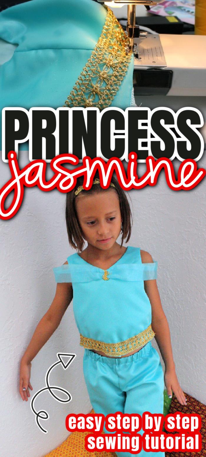 Easy diy princess jasmine costume sewing tutorial great for Halloween, trips to Disneyland or dress up.