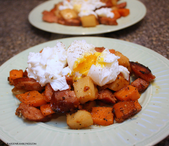 Super easy and yummy one pan sweet potato and kielbasa has - Rae Gun Ramblings