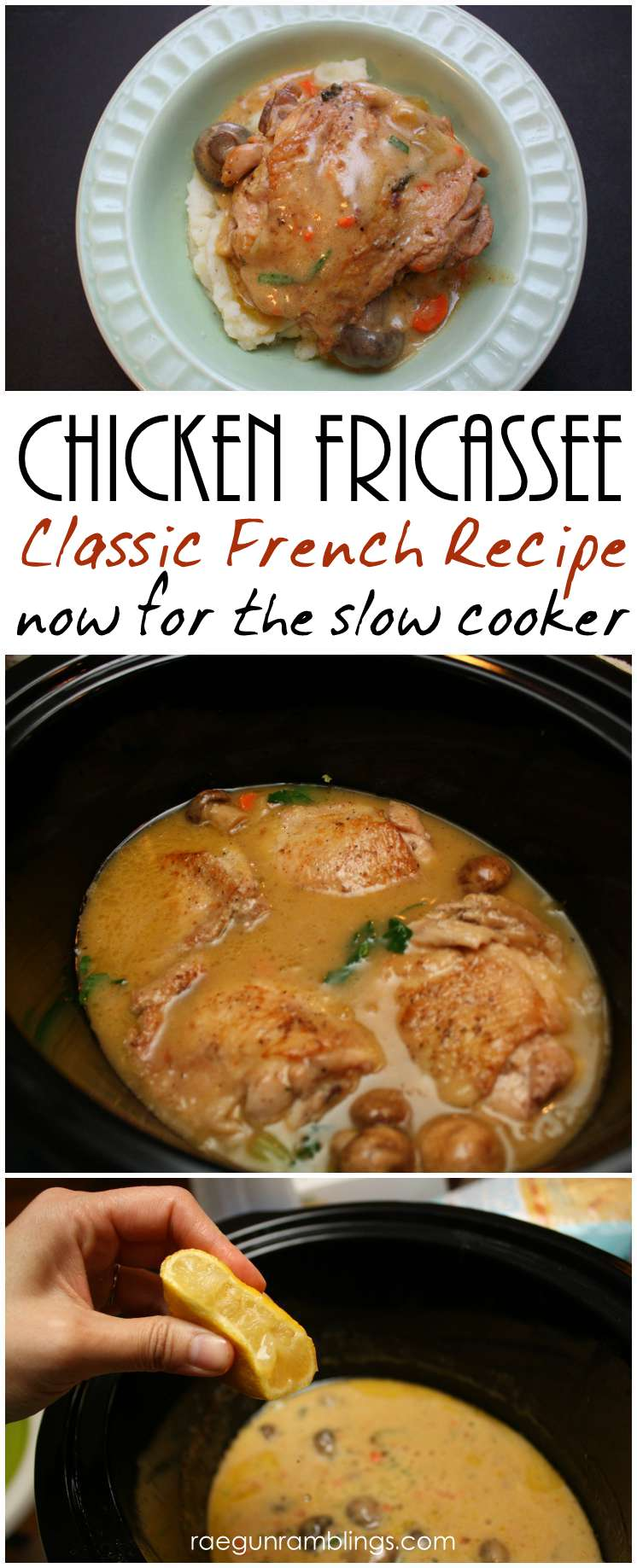 One of my favorite chicken dinner recipes. Slow cooker french chicken fricassee for the crock pot