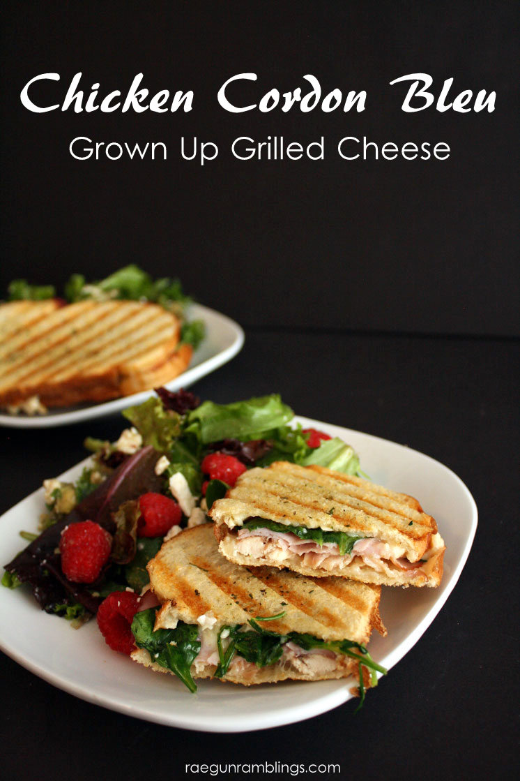 Quick and easy weeknight dinner idea chicken cordon bleu grilled cheese sandwiches