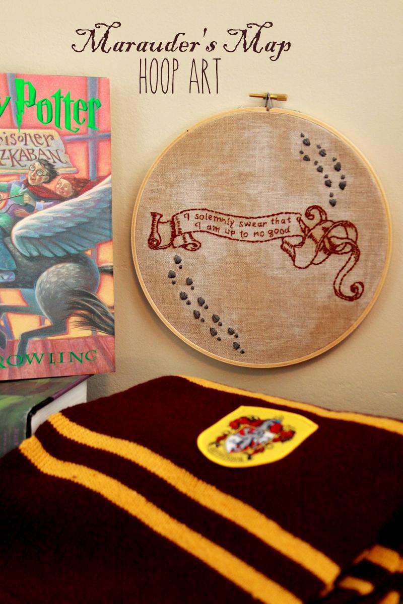 Marauder's Map Hoop Art tutorial. Harry Potter quote