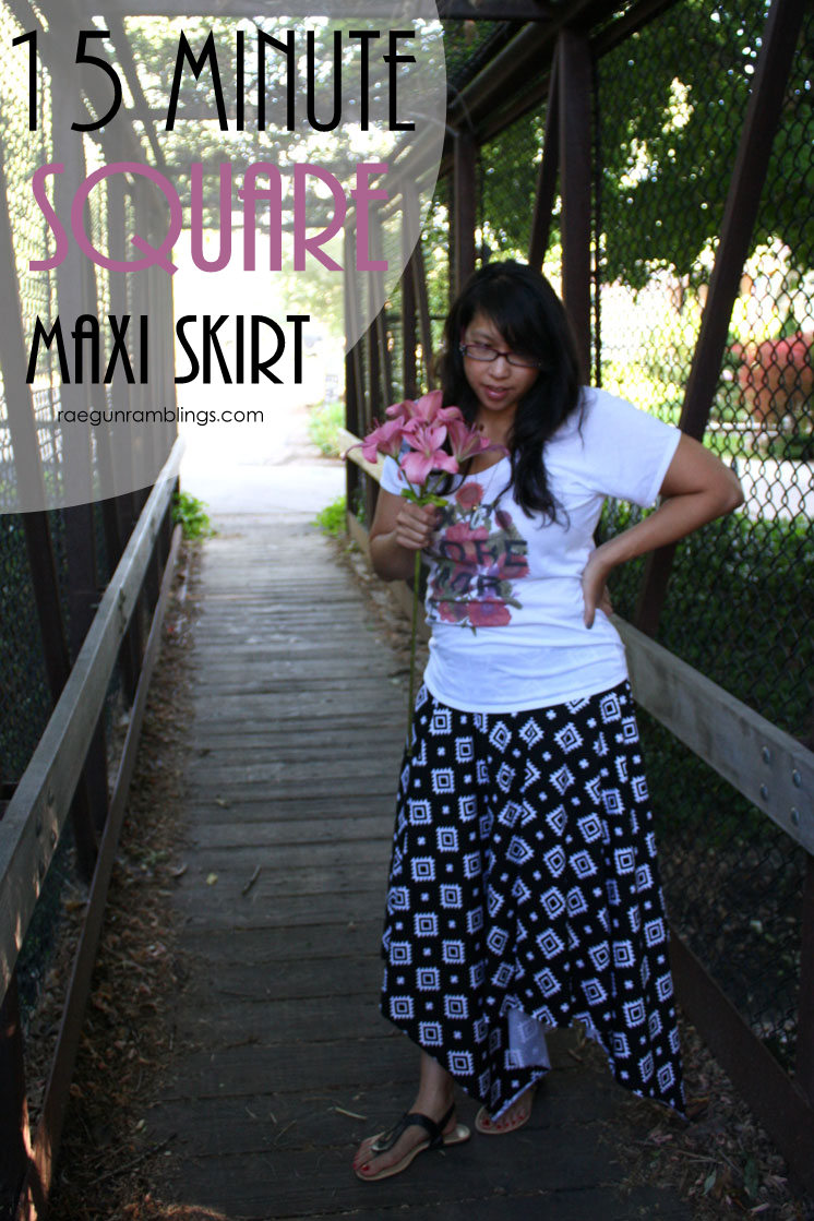 This skirt REALLY only takes 15 minutes. It's so easy. Great tutorial for a square maxi skirt
