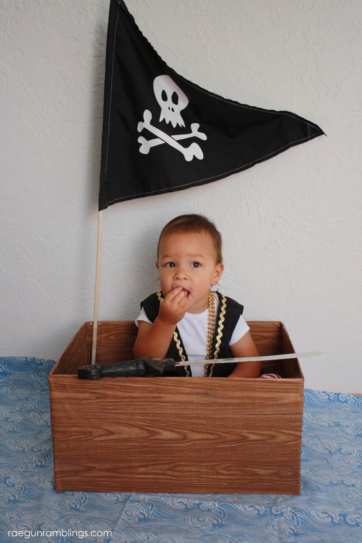 Save for fun pirate party or pretend. 30 minute pirate ship from diaper box tutorial.