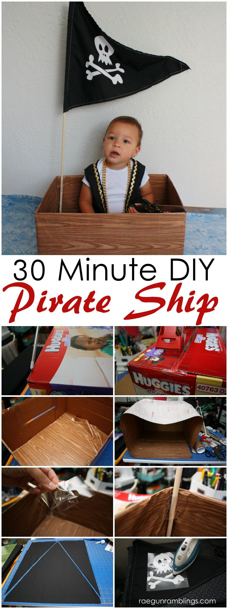 Super easy and adorable DIY Toddler pirate ship. Great prop for pirate party or pictures