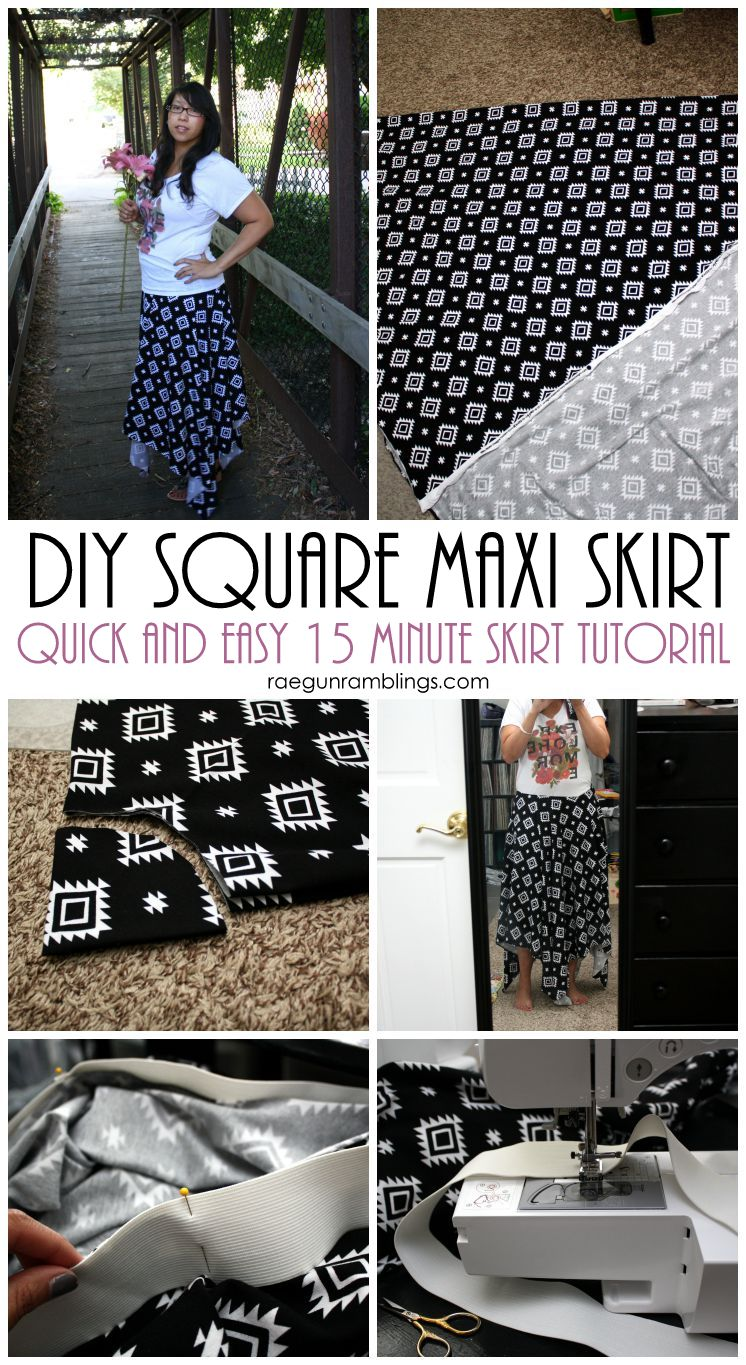 Super easy and fast DIY square maxi skirt tutorial