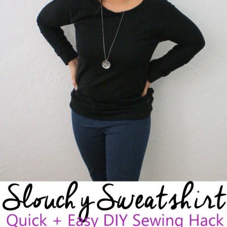 great diy slouchy sweatshirt sewing hack