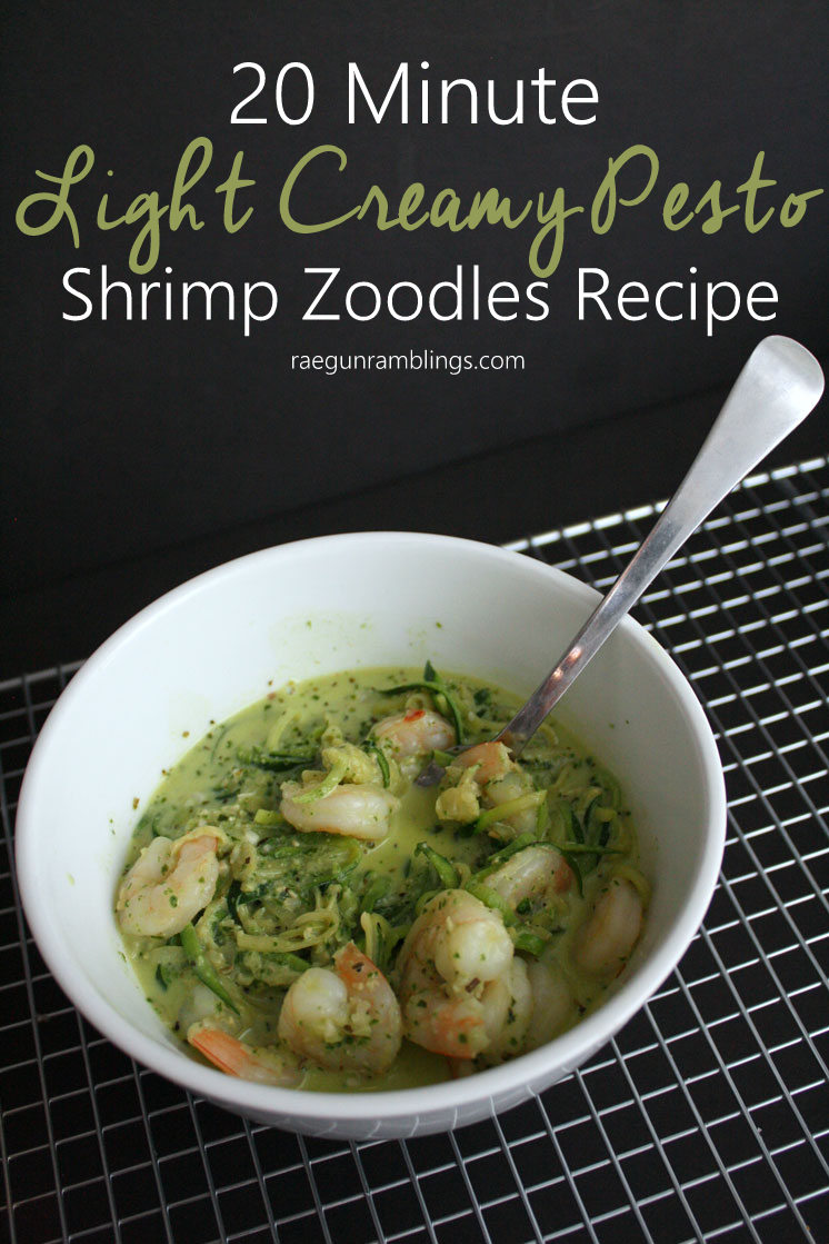 New favorite. Will be in our weeknight dinner rotation. Healthy and light creamy pesto shrimp zoodles (zucchini noodles) recipe.
