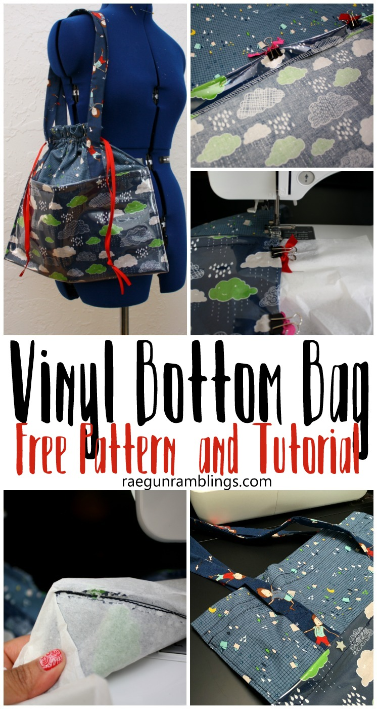 Free pattern and tutorial for awesome diy vinyl bottom bag. Great sewing tutorial