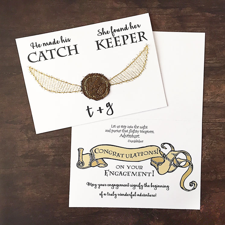 Adorable Harry Potter themed engagement wedding announcements
