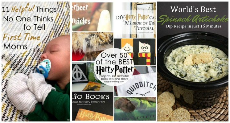 Great info for first time moms , Harry Potter crafts, and the best hot dip ever