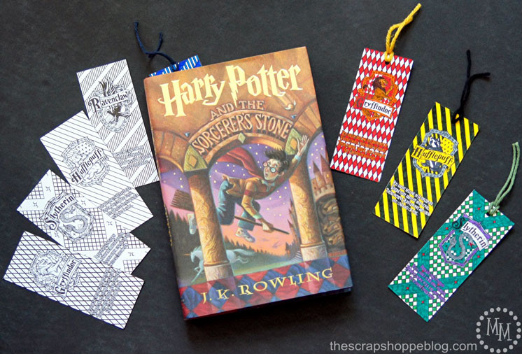 Love these printable Harry Potter coloring bookmarks. One for each Hogwarts house. Would be a fun kid activity.