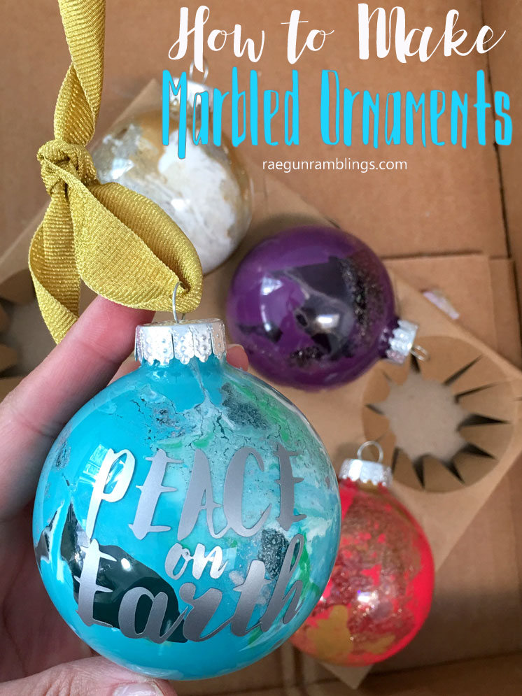 10 minute marble painted ornaments tutorial. Darling Peace on earth globe ornament