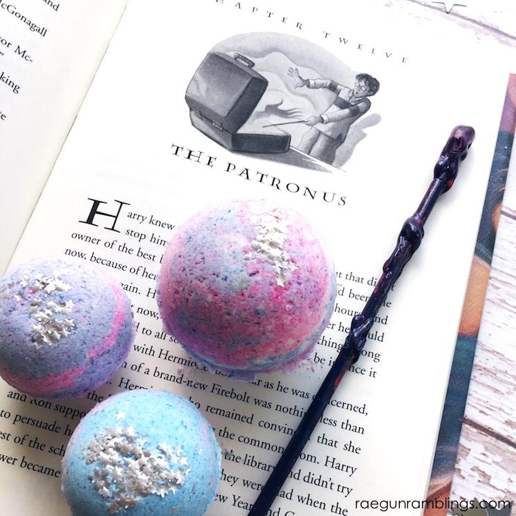 Easy DIY Harry Potter bath bombs with surprise patronus