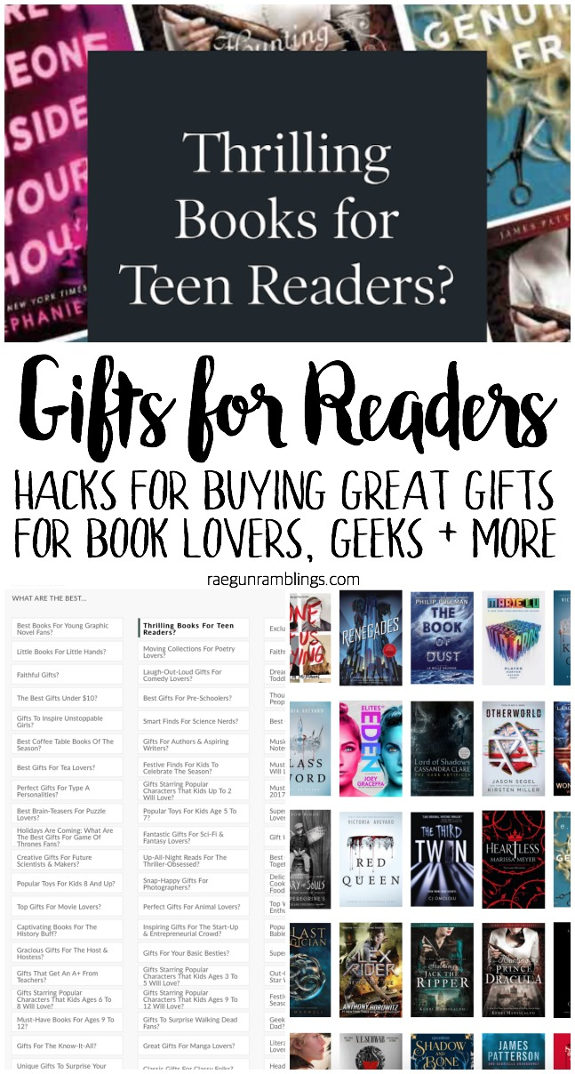 awesome tips and tools for buying gifts for readers and geeks. books and non-book present tricks and ideas