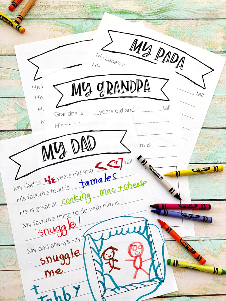 Great fill in the blank free Father's Day printables for dad, grandma, step dad, uncle and more!