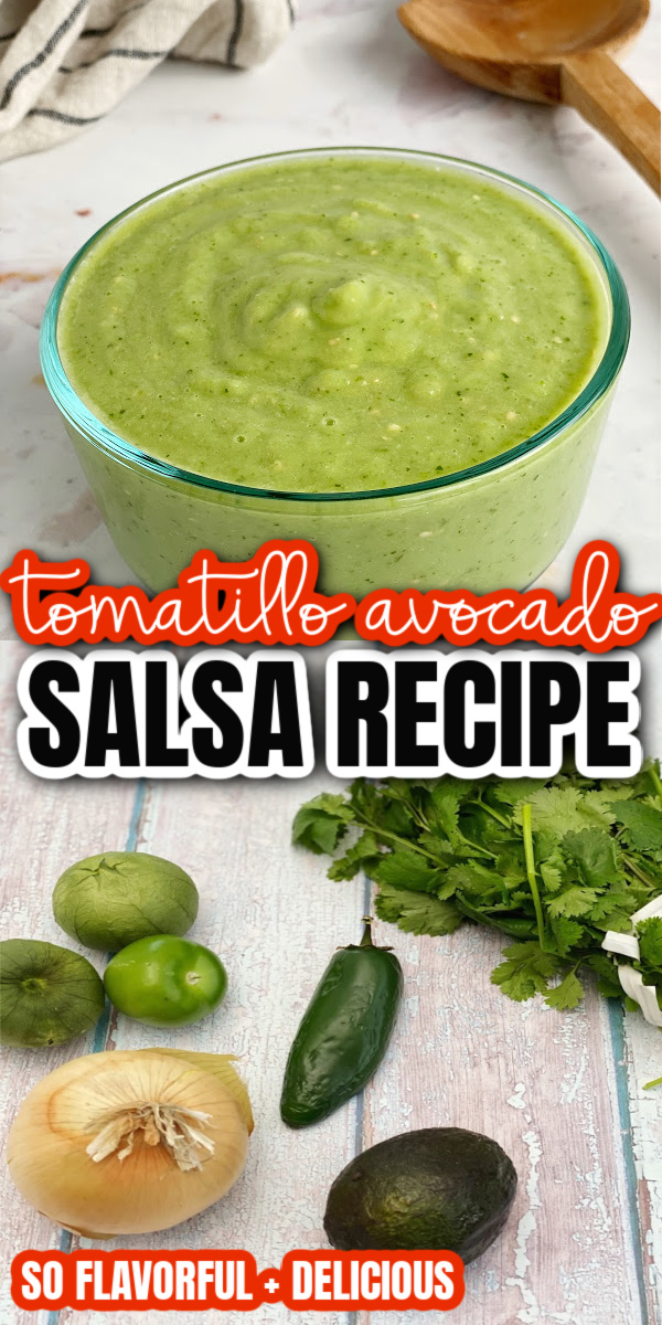 This is the best tomatillo avocado salsa. So easy and delicious. Great on everything from eggs, to chips, to burgers and Whole30 compliant.