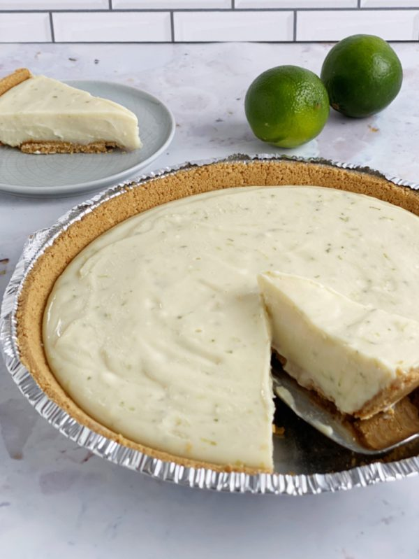 Key lime pie being served
