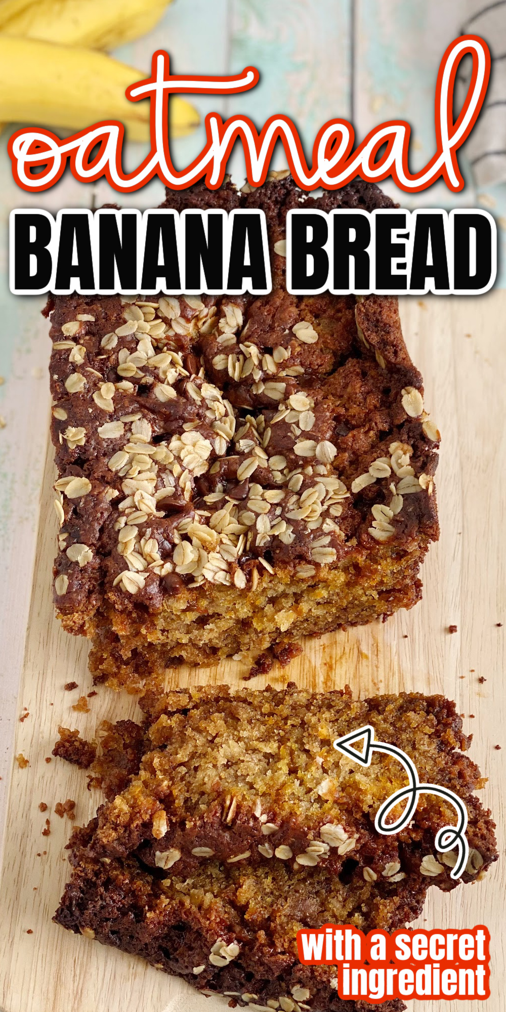 Delicious banana oatmeal bread with extra protein and texture. Perfectly moist sour cream style banana bread but easier than your favorite coffee cake.