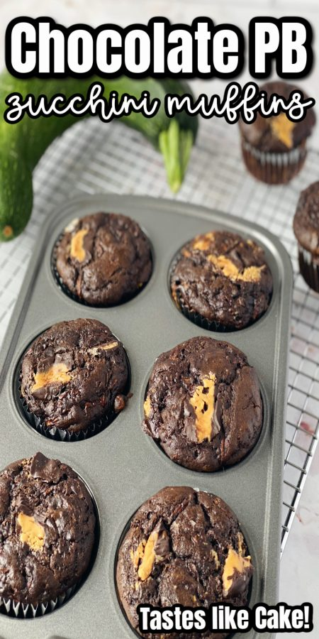 pan with peanut butter chocolate zucchini muffins