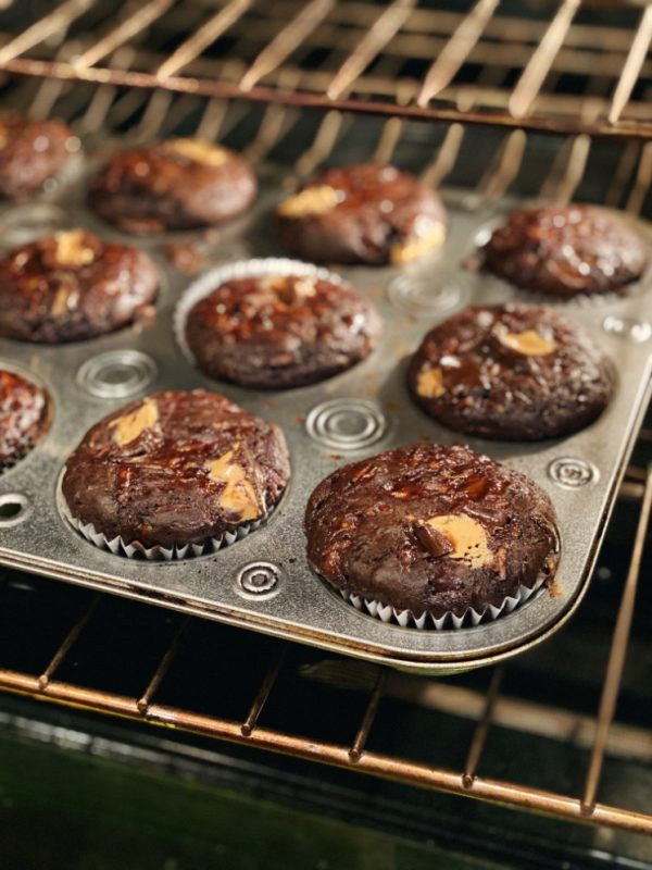 Peanut Butter Chocolate muffins in oven