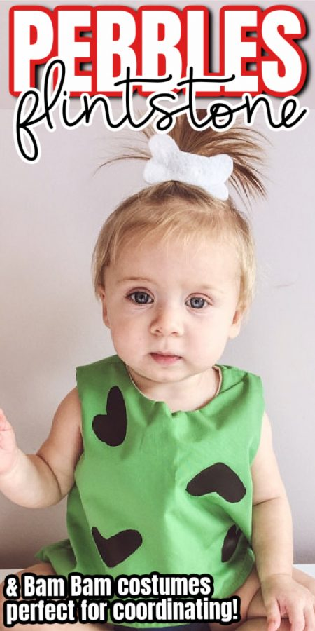baby girl in pebbles flinstone costume