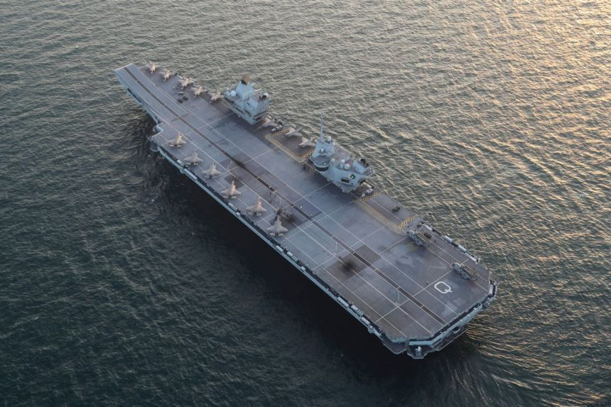Image shows the aircraft carrier from above.